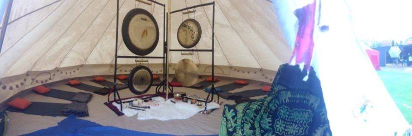 _panorama inside and outside tent